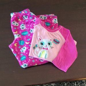 GUC GIRLS LARGE 10/12 PINK W/ KITTY PAJAMA SET